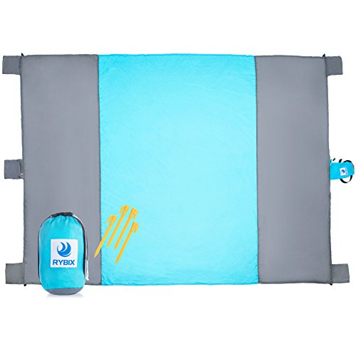 Large Beach Picnic and Camping Blanket: Parachute Nylon Water Resistant Sand Proof Mat Throw Blankets with Compression Travel Pouch and Anchor Stakes