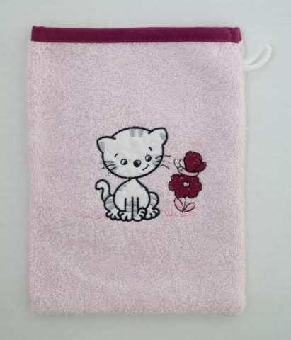 Toallas de rizo/manopla, color rosa bordados con gato, tamaño 15 x 20 cm: Amazon.es: Hogar