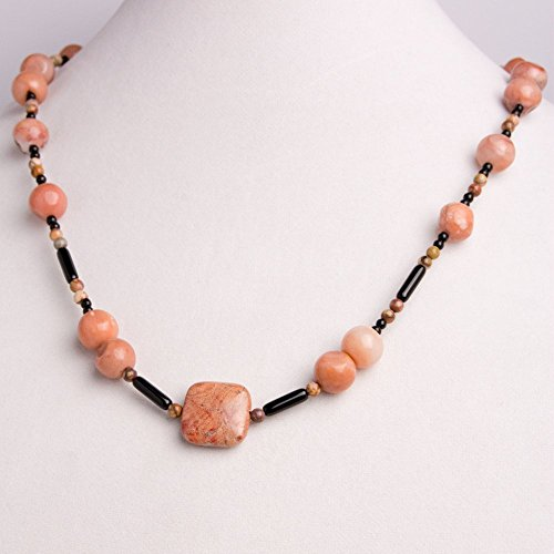 Mexican Set Bracelet - Salmon Colored Jasper Square Pendant with Dusky Salmon Jasper Round Beads and Mexican Birdseye Rhyolite Round Beads Necklace, Earring, and Bracelet Set