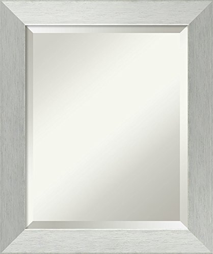 - Amanti Art Framed Brushed Sterling Silver Solid Wood Wall Mirrors, Glass Size 16x20,