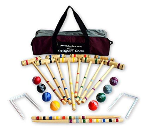 8-Player Deluxe Amish-Crafted Croquet Game Set with Carry Bag (Four 33'' Mallets/Four 29'' Mallets) by AmishToyBox.com