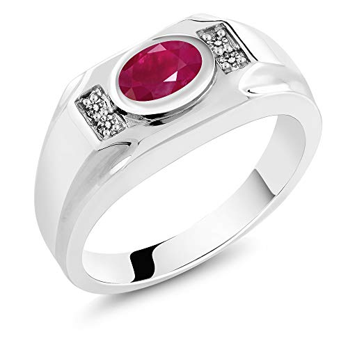 (Gem Stone King 2.02 Ct Oval Red Ruby & White Diamond 925 Sterling Silver Men's Ring (Size 12))