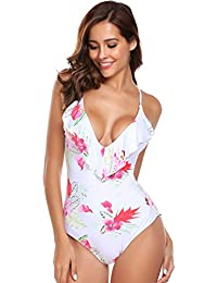 Swimwear Womens Monokini Swimsuits Sexy Cross Lace up Low Back Print One Piece Bathing Suits S-XXL