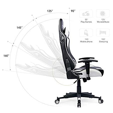 Umi Essentials Chaise Gaming Music Chaise de Bureau Fauteuil de Bureau Chaise Gamer avec Haut-Parleur Bluetooth Bleu
