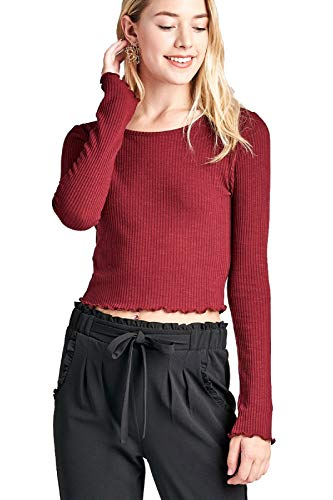 Lettuce Edge Shirt - Design by Olivia Women's Long Sleeves Casual Slim Tees with Lettuce Finish Edge Hem Detail Burgundy L