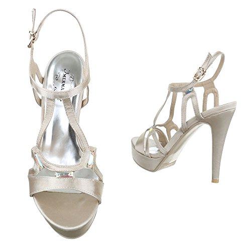 Ital-Design - Sandalias de vestir de tela para mujer champán