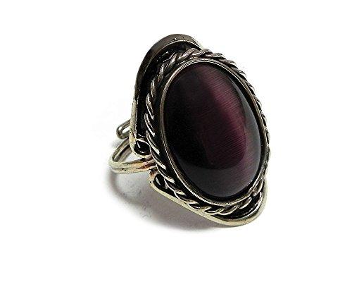 Oval Cat's Eye Gemstone Ring (Dark Purple) (Gemstone Ring Cat)