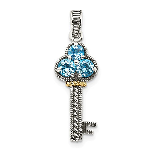 - 925 Sterling Silver 14k Blue Topaz Key Pendant Charm Necklace Gemstone Fine Jewelry Gifts For Women For Her