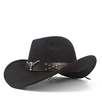 SHENTIANWEI Unisex Men Women Western Cowboy Hat with Cow Head Leather Band Sombrero Hat Wide Brim Church Jazz Hat Size 56-58CM (Color : Black, Size : 56-58)