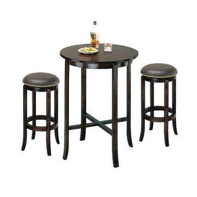 York Espresso Pub Table Set with 2 Leather Nailhead Swivel Bar Stools