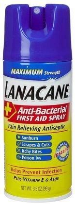 Lanacane Antibacterial First Aid Spray - 3.5 oz. (Quantity of 4)