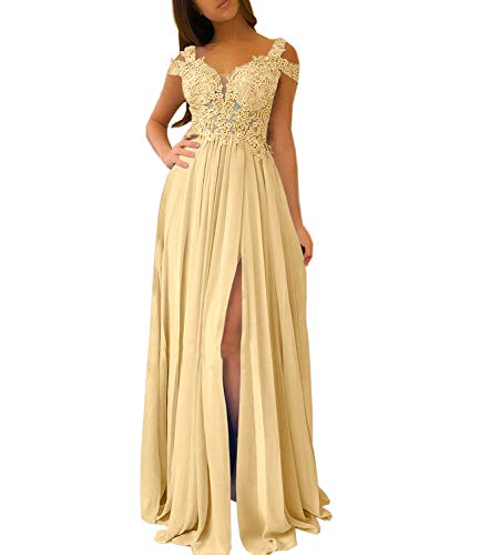 Women's A-line Evening Gowns Cap Sleeves Lace Appliqued Long Formal Party Prom Dresses with Slit (Gold, 12)