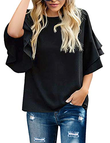 Tiered Sleeve Top - GRAPENT Women's Black Casual Crewneck Tiered 3/4 Bell Sleeves Blouse Loose Tops Shirt Size Small Fits US 16-18