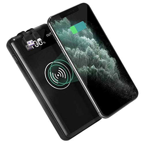 Portable Wireless Charger 25000mAh, Qi Wireless Power Bank 3.1A Fast Charger External Battery Pack With Triple Output Ports, LED Display, Built-in Type-C and USB Cable for Smart Phones Tablet and More