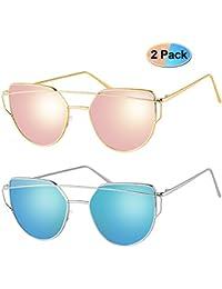 Sunglasses for Women Cat Eye Mirrored Polarized Metal Frame Sunglasses UV400 2 Pack