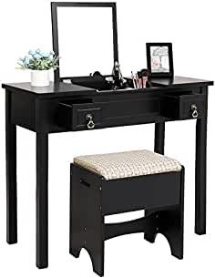 Attrayant SONGMICS Vanity Set With Flip Top Mirror Makeup Dressing Table Writing Desk  With 2 Drawers Cushioned
