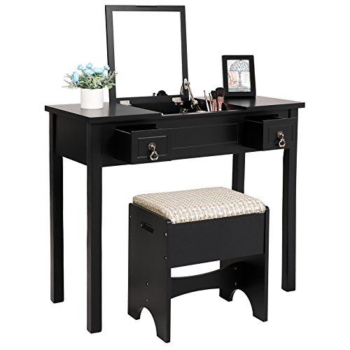 SONGMICS Vanity Set with Flip Top Mirror Makeup Dressing Table Writing Desk with 2 Drawers Cushioned Stool 3 Removable Organizers Easy Assembly Black URDT01B