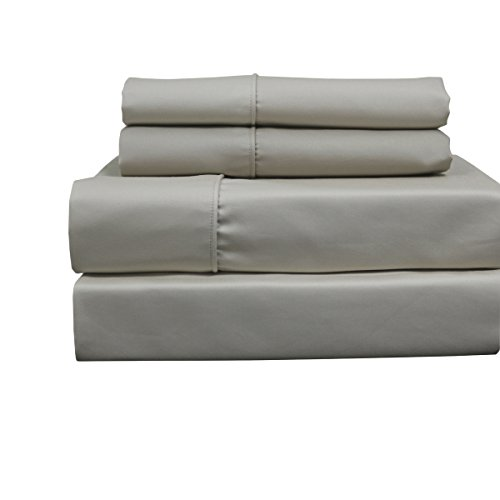Solid Linen Top Split King: Adjustable King Bed Size Sheets, 4PC Bed Sheet Set, Cotton blend 650 Thread Count, Sateen Solid, Deep ()