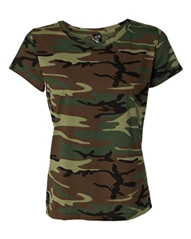 Code V 3665 Code V Ladies' Fine Cotton Jersey Camouflage T-Shirt Green Woodland XL - Woodland Camouflage Tee T-shirt Top