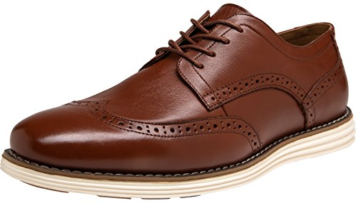 JOUSEN Men's Dress Shoes Wingtip Brogue Leather Oxford (11,Oxblood)