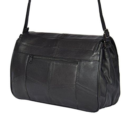 Organiser Ladies Large Messenger Cross Leather Black HOL975 Bag Real Body Shoulder nUxUfXB