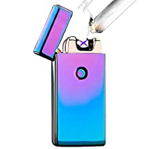Huayang| Colorful Dual Pulse ARC USB Rechargeable Windproof Arc Lighter Electronic Windproof Cigarette Candle Lighter 7