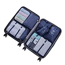 Meowoo Packing Cubes,7 Set Travel Storage Bags Suitcase Organizer Luggage Pouches