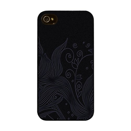 Diabloskinz H0026-0004-0050 Etched Flowers Black Schutzhülle für Apple iPhone 4/4S