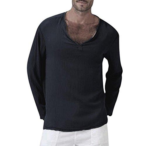 haoricu Mens Summer Long Sleeve T-Shirt Cotton Linen Shirt V-Neck Sport Yoga Top Blouse Black