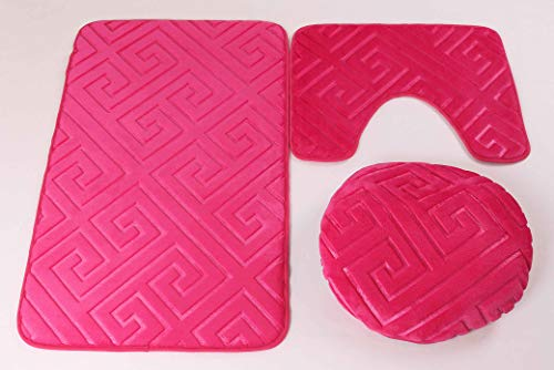 Elegant Home 3 Piece Solid Color Greek Key Design Embossed Memory Foam Bathroom Rug Set Bath Rug, Contour Mat, Lid Cover Non-Slip with Rubber Backing # Greek Key (Hot Pink) by Elegant Home