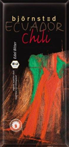 Björnsted Bio Chili Edel Bitter Schokolade, charaktervolles Aroma in wunderbarer Harmonie mit einem unglaublichen Schmelz, fe