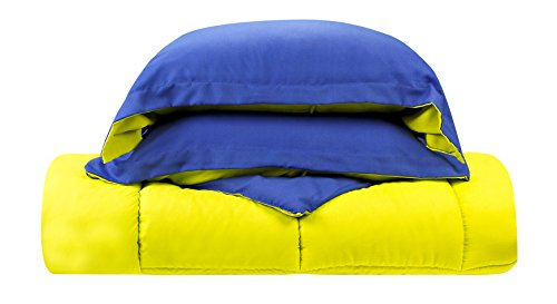 - Clara Clark 3-Piece Goose Down Alternative Reversible Comforter Set, Full/Queen, Lime Green/Royal Blue