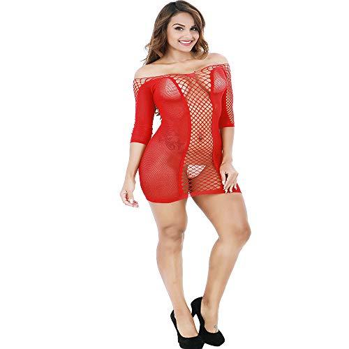 YOcheerful Women's Lingeries Long SleeveTransparent Mesh Bodystockings Underwear Dress Floral Lingeries(X-Red, E)