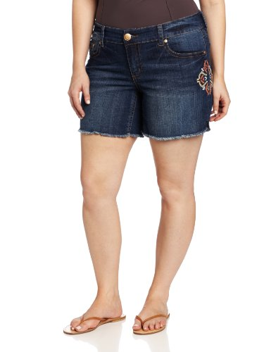 Seven7 Women's Plus-Size 6 Inch Embroidered Short, Cabana, 14