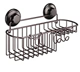 HASKO accessories Shower Caddy with Suction Cups - Basket for Shampoo with Soap Holder and Hooks - Stainless Steel Holder for Bathroom Storage (Bronze)