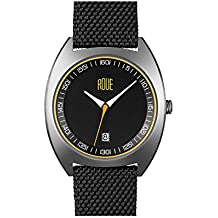 Roue Cal Four Watch, 1930s Racing Style, 41.5mm Sand Blasted Stainless Steel case, Silicone + Nylon Front/Leather Back, Sapphire Crystal with Anti-Reflective Treatment Glass