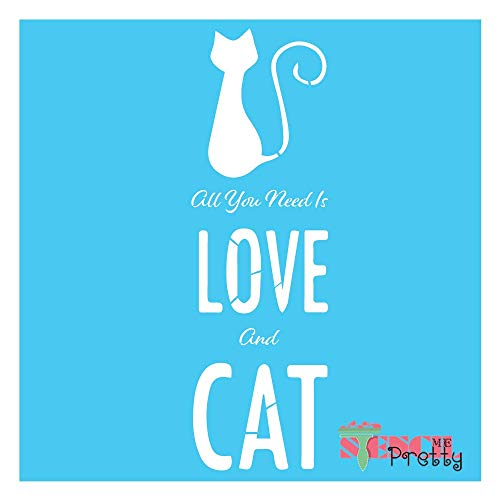 "Standard Brilliant Blue Color Material All You Need is Love Feline Cat Lovers Stencil-M (5.25"" x 17"")"