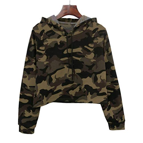O Femmes Capuche Cou Green Dcontract Tonsee Patchwork Longues Chemisier Sweat Manches Camouflage 4UwC6XRCq