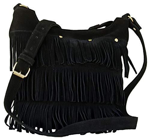 AOL Hippie Suede Fringe Tassel Messenger Bag Women Hobo Shoulder Bags Crossbody Handbag