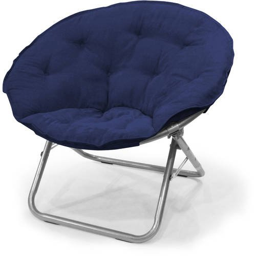 225 lbs Capacity Foldable steel frame Soft and Wide Seat Microsuede Saucer Large Folding Chair in Navy by Urban Shop
