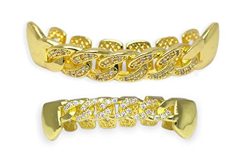 Yellow Gold-Tone Iced Out Hip Hop Bling Open Face Cubic Zirconia (CZ) Cuban Link Removable Grill Grillz Combo Set with Mold Bar by iRockBling (Image #5)