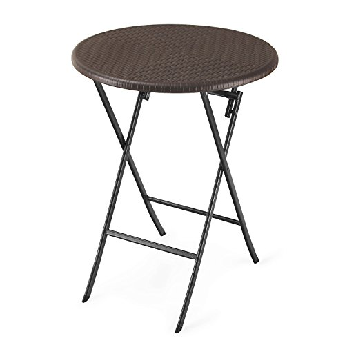 Adeco Folding Bistro-Style Patio Rattan Table Brown (Rattan Bistro Table)
