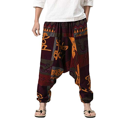 HongXander Men's Size Plus Casual Harem Pants Cotton Linen Festival Baggy Boho Trousers Retro Gypsy Pants (M, A)