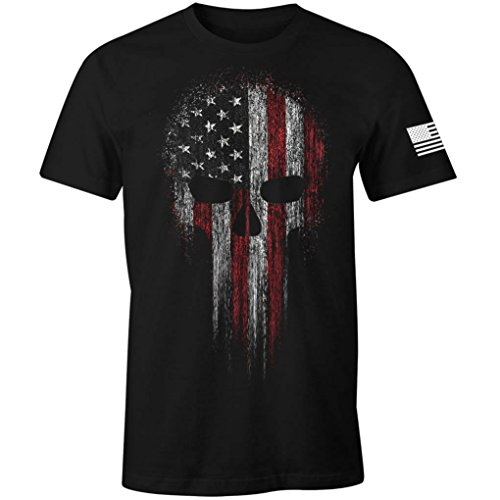 Crew Screen Print T-shirt - USA Military American Skull Flag Patriotic Men's T Shirt (Black, L)