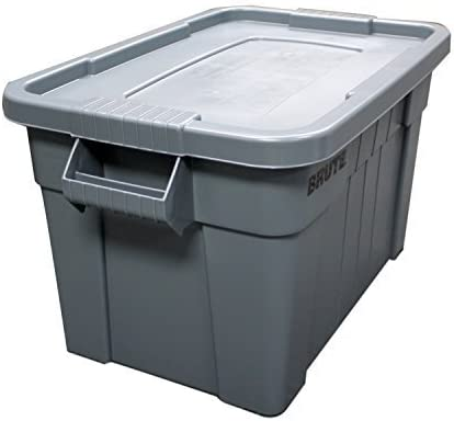3 X Rubbermaid Commercial FG9S3100GRAY Brute Tote with Lid Gray 20-Gallon Capacity