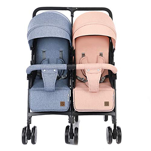 Stroller Zzmop Double, Twin Tandem Baby with Adjustable Backrest, Footrest, 5 Points Safety Belts, Foldable Design for Easy Transportation