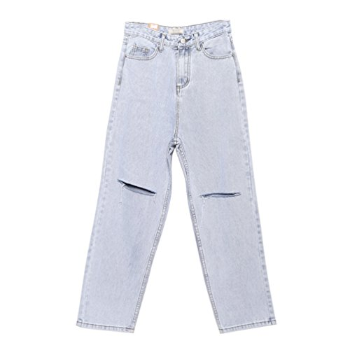 Lihaer Femmes Pantalon Large Grande Taille Mode Rtro Jeans Taille Haute Jeans Trou Dcontracts Pour Femmes Bleu Clair