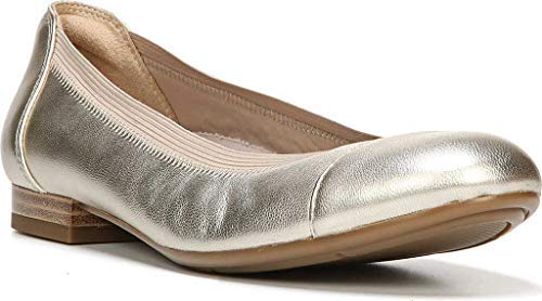 Naturalizer Womens Therese Ballet Flat,Platina Metallic Leather,US 7 M (Leather Metallic Flats Ballet)