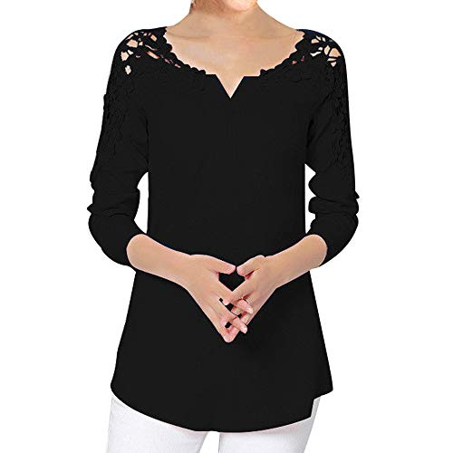 AOJIAN Blouse Women Long Sleeve T Shirt Solid Lace Splice Tees Tank Shirts Tops