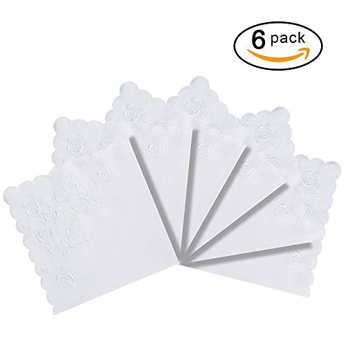 RICOSKY Bridal Wedding White Embroidery Handkerchief Pack of 6 Pieces (Wedding Hanky Handkerchief)